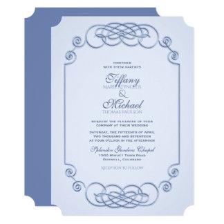 Convite azul do casamento do Filagree