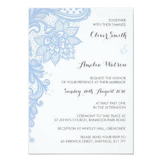 Convite azul do casamento do laço