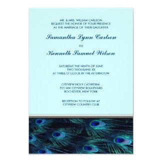 Convite azul do casamento do pavão da cerceta