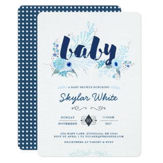 Convite azul do chá de fraldas da flor do inverno