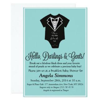 Convite azul do chá de fraldas de Tiffany