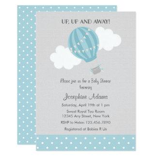 Convite azul do chá de fraldas do balão de ar