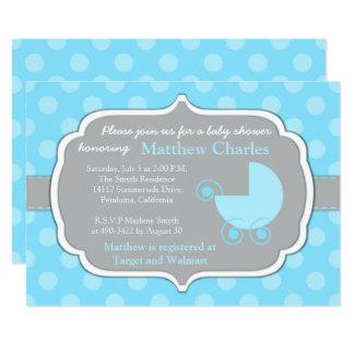 Convite azul do chá de fraldas do bebé das