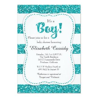 Convite azul do chá de fraldas do brilho, cartão