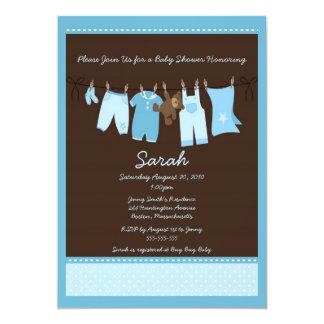Convite azul do chá de fraldas do Clothesline
