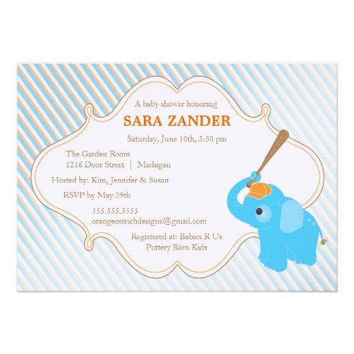 Convite azul do chá de fraldas do elefante