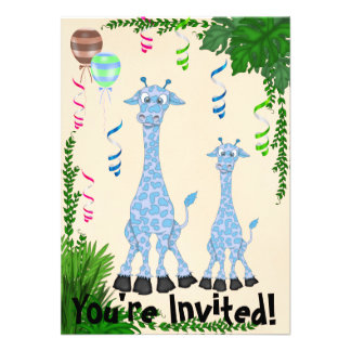 Convite azul do chá de fraldas do girafa do safari