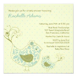 Convite azul do chá de fraldas do pássaro da mamã