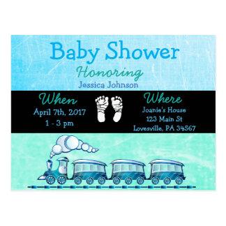 Convite azul do chá de fraldas do trem do bebé
