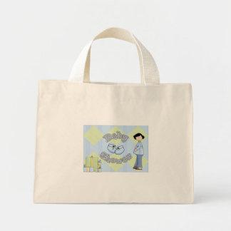 Convite azul do chá do bebé bonito bolsa para compras