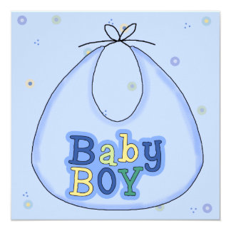 Convite azul do chá do bebé do babador convite quadrado 13.35 x 13.35cm