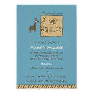 Convite azul do chá do bebé do girafa