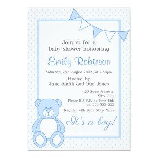 Convite azul do chá do urso de ursinho - menino