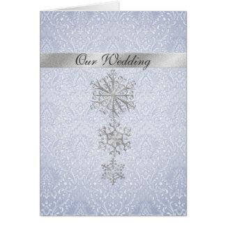 Convite azul do damasco & do casamento no inverno