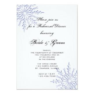 Convite azul do jantar de ensaio do casamento do