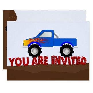 Convite azul do monster truck