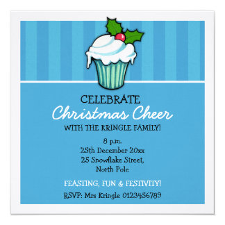 Convite azul do Natal do cupcake do azevinho do