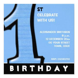 Convite azul do primeiro aniversario do número 1