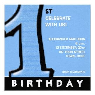 Convite azul do primeiro aniversario do número 1 p