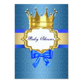 Convite azul do príncipe chá de fraldas