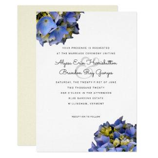 Convite azul do reverso do amarelo do casamento do