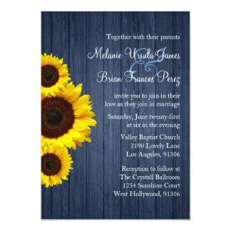 Convite azul e amarelo do casamento do girassol