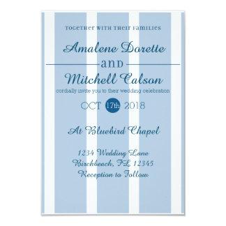 Convite azul e branco chique do casamento da
