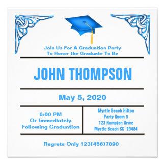 Convite azul e branco da festa de formatura
