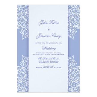 Convite azul e branco da mandala