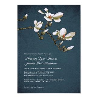 Convite azul e branco do casamento da magnólia
