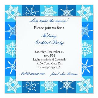 Convite azul e branco elegante do floco de neve