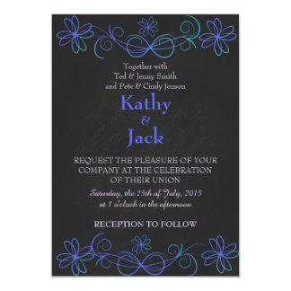 convite azul e roxo do casamento
