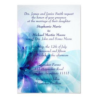 Convite azul e roxo do casamento do design floral