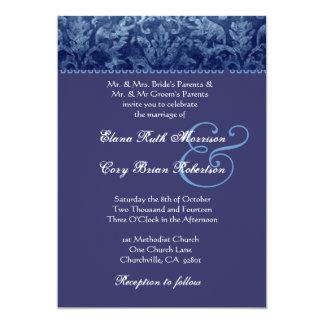 Convite azul e roxo R431 do casamento tema damasco