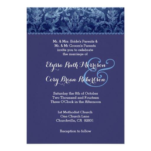 Convite azul e roxo R431A do casamento tema damasc