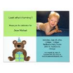 Convite azul e verde do urso de ursinho do