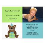 Convite azul e verde do urso de ursinho do anivers