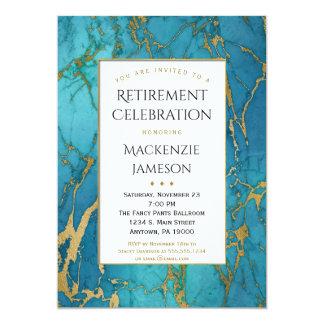 Convite azul elegante da aposentadoria do mármore