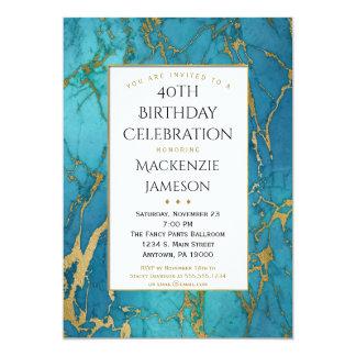 Convite azul elegante do aniversário do mármore do