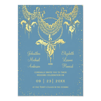 Convite azul elegante do casamento da festão da