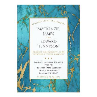 Convite azul elegante do casamento do mármore do