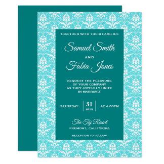 Convite azul elegante do casamento tema damasco de