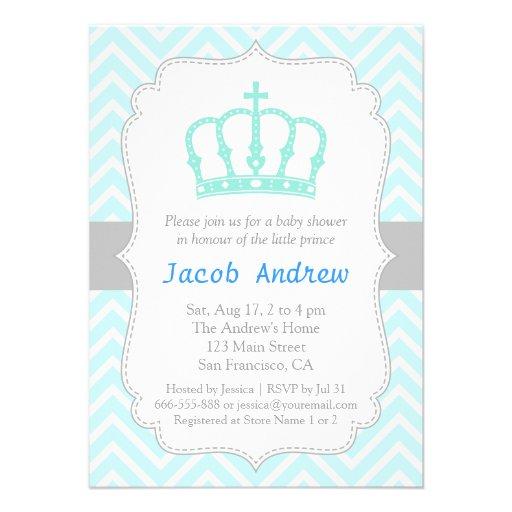 Convite azul elegante do chá de fraldas do príncip