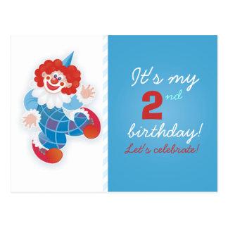 convite azul engraçado do aniversário do palhaço