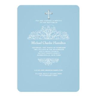 Convite azul filigrana religioso