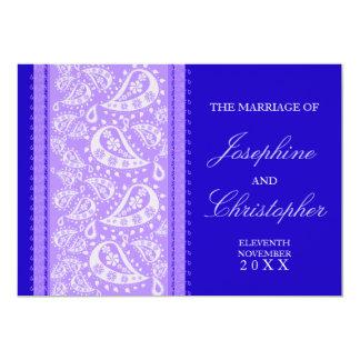 Convite azul roxo do casamento de Paisley