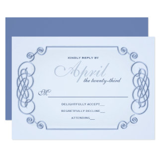 Convite azul RSVP do casamento do Filagree