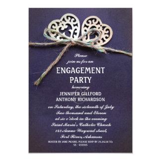 convite azul rústico da festa de noivado
