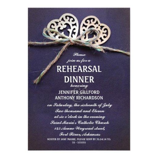 convite azul rústico do jantar de ensaio