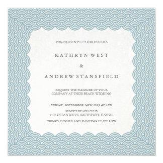 Convite azul Scalloped do casamento do teste